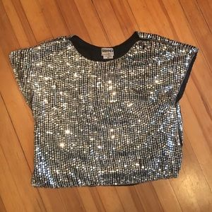 Cropped silver sequin vintage shirt